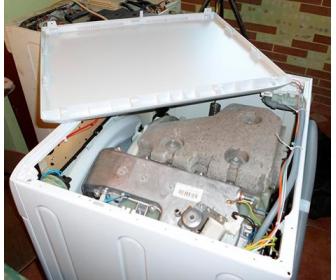 Снятие крышки стиральной машины